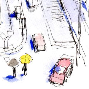 雨の円山裏参道