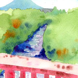橋から見た羊蹄山